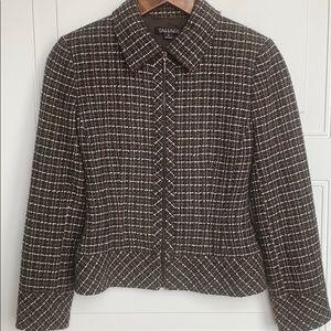 Tahari Brown Tweed Full Zip Jacket SZ 2
